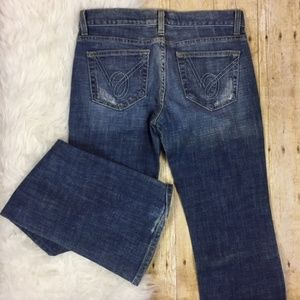 Bebe Faded Denim Carmen Flare Jean